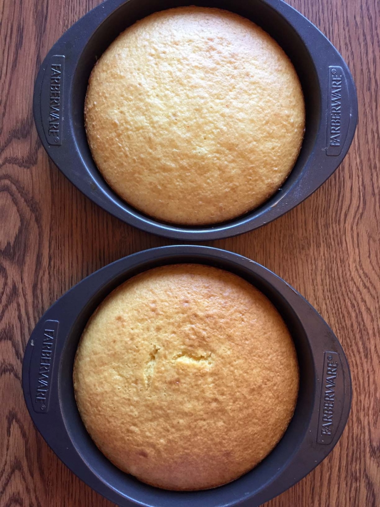 2 yellow cakes in round 9 inch pans