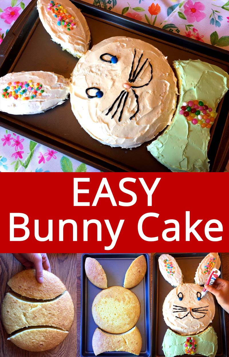 This easy bunny cake is a hit at every Easter brunch! Even if you can't decorate, you just can't go wrong with this simple Easter bunny cake! Everyone loves it!
