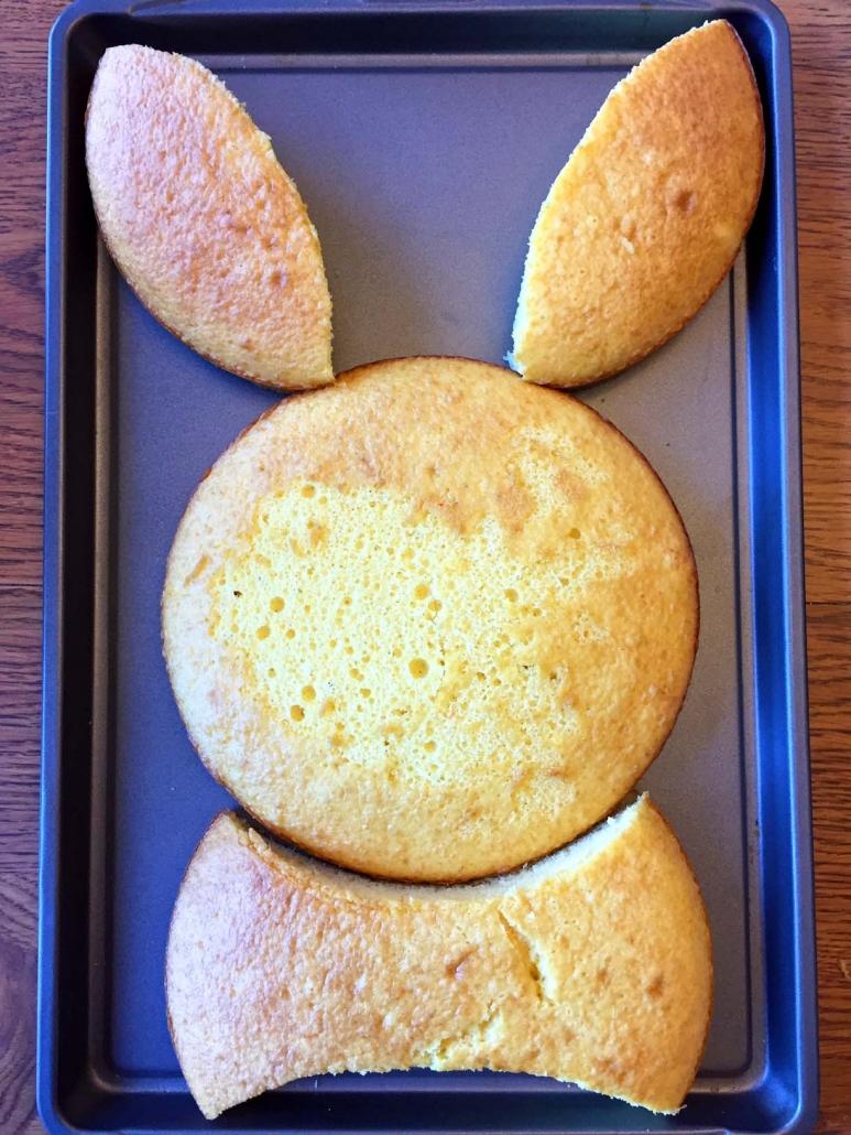 Assembling bunny cake