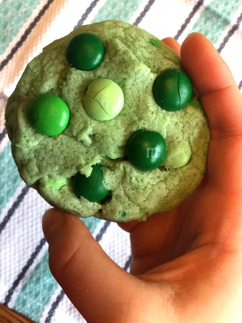 Cookies made with green mint m&m's candy