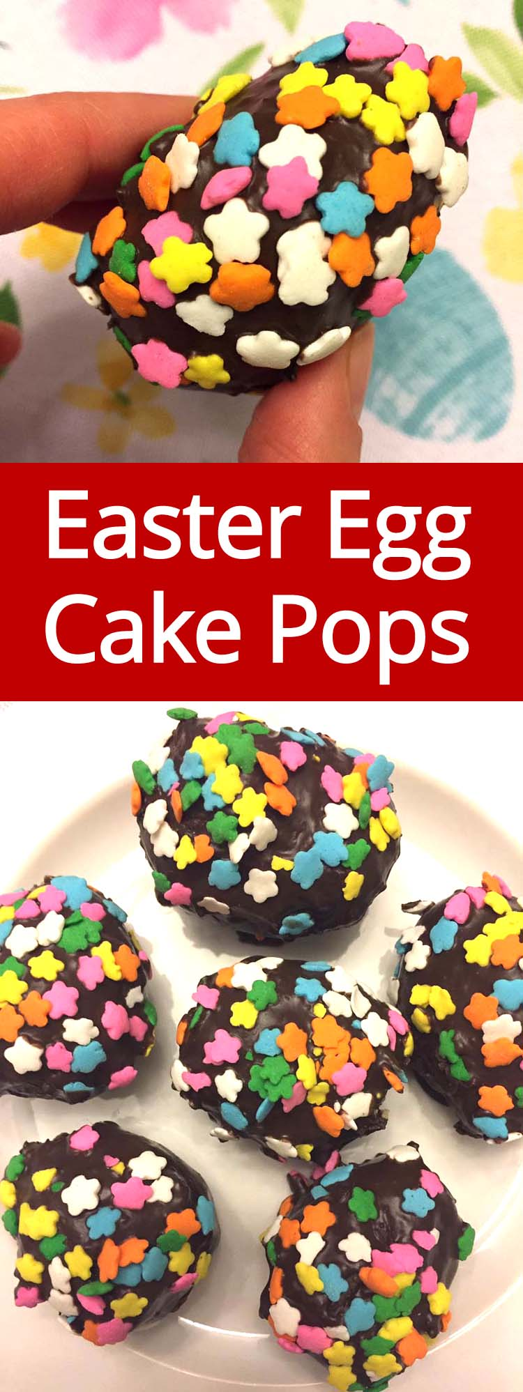 These Easter Eggs cake pops are amazing! Just crumble yellow cake mix, shaped into an egg, dip in chocolate and roll in Easter sprinkles! I love how simple and easy it is to make these eggs!