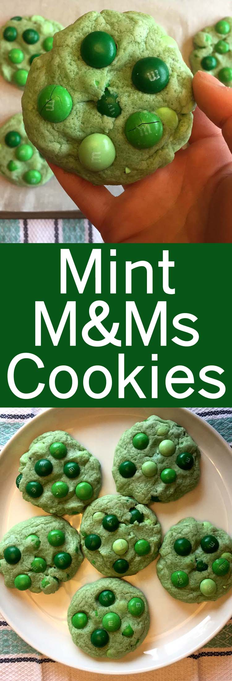 These green mint M&M's cookies are amazing! Perfect for St. Patrick's day!