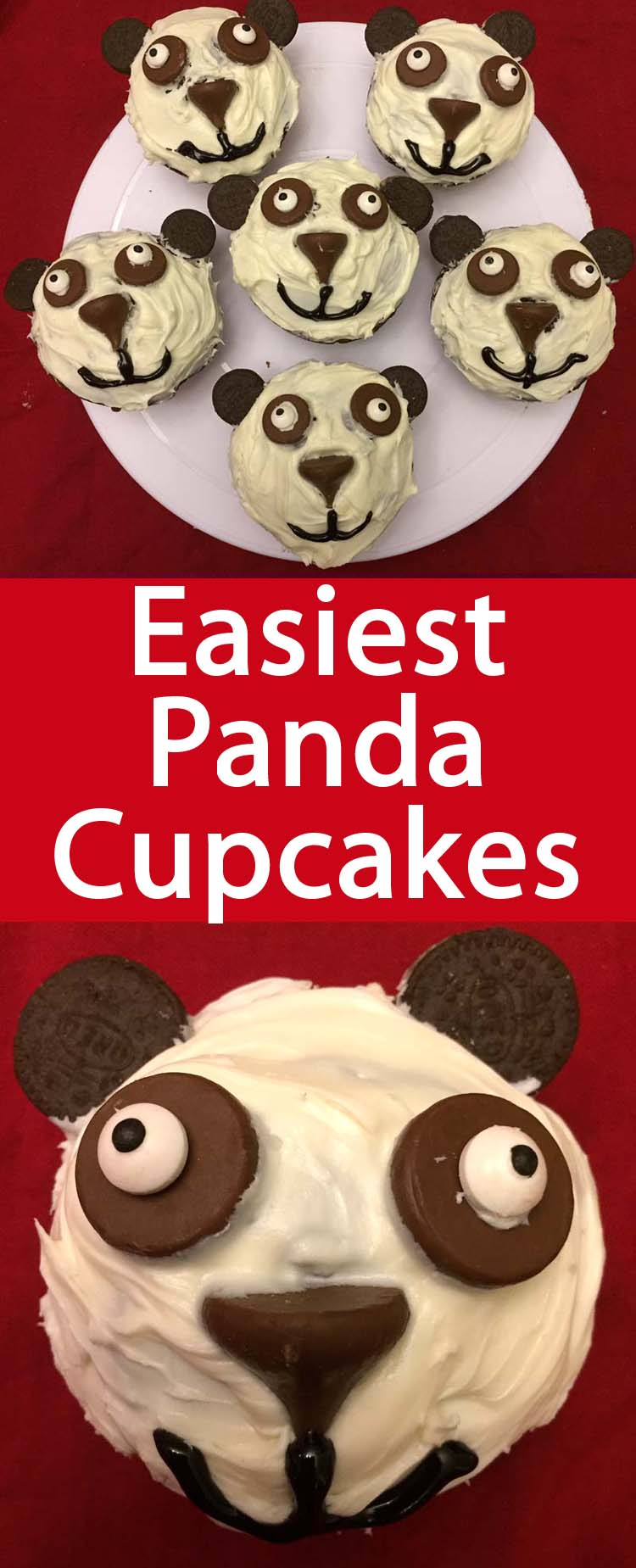 These easy panda cupcakes are perfect for panda themed party! They are so easy, even decoration challenged people can make these :)