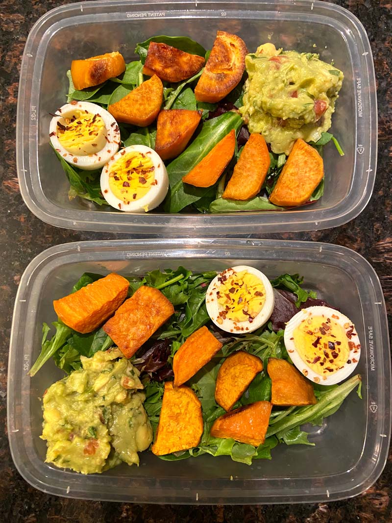 This sweet potato, avocado and egg meal prep recipe is amazing! It's vegetarian, gluten-free, super healthy and filling! You are going to love having this yummy lunch waiting for you in the fridge!