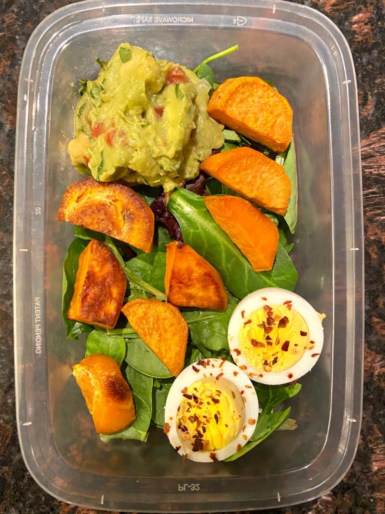 sweet potato avocado egg vegetarian meal prep lunch