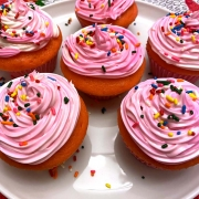 Pink cupcakes with sprinkles